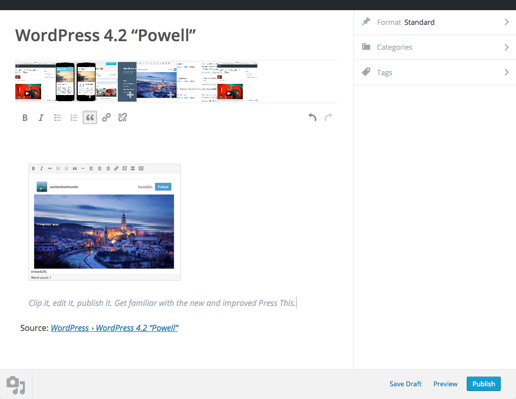 WordPress 4.2 Press This