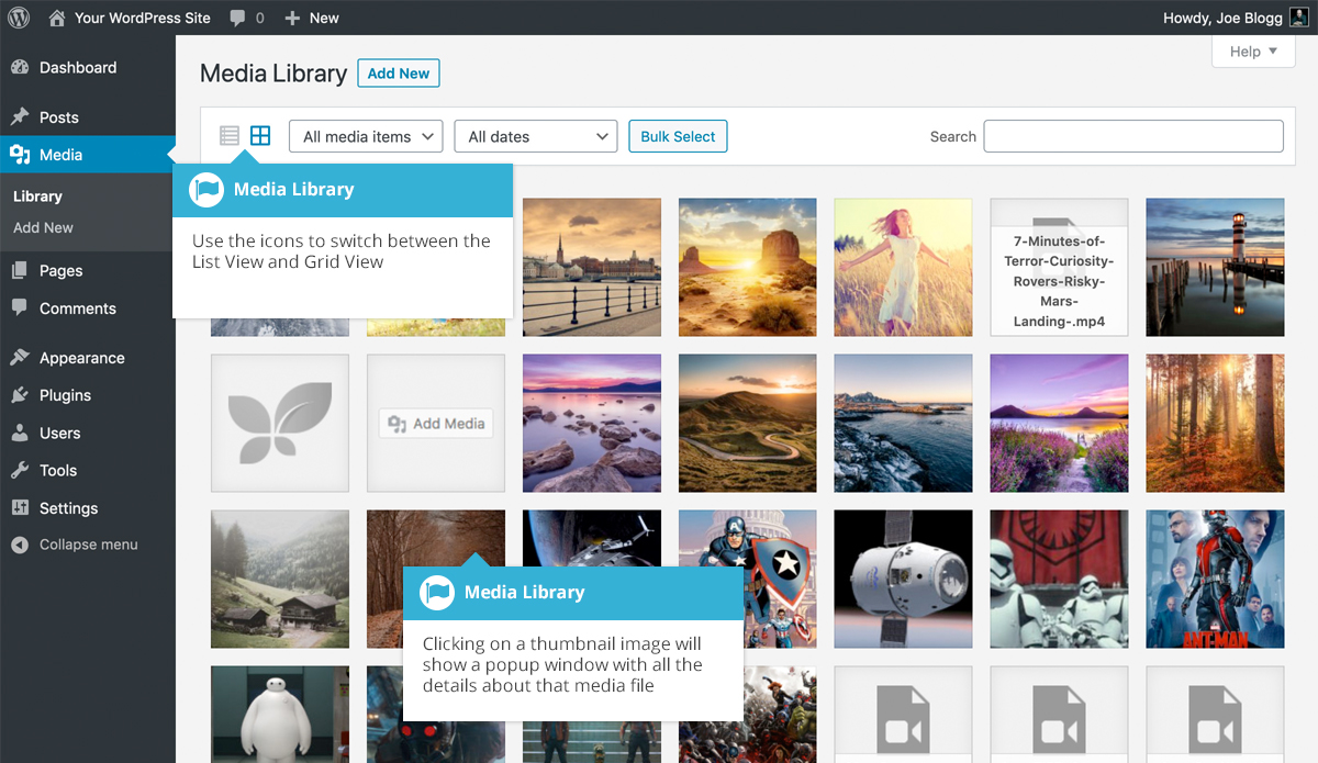 Media Library Grid View