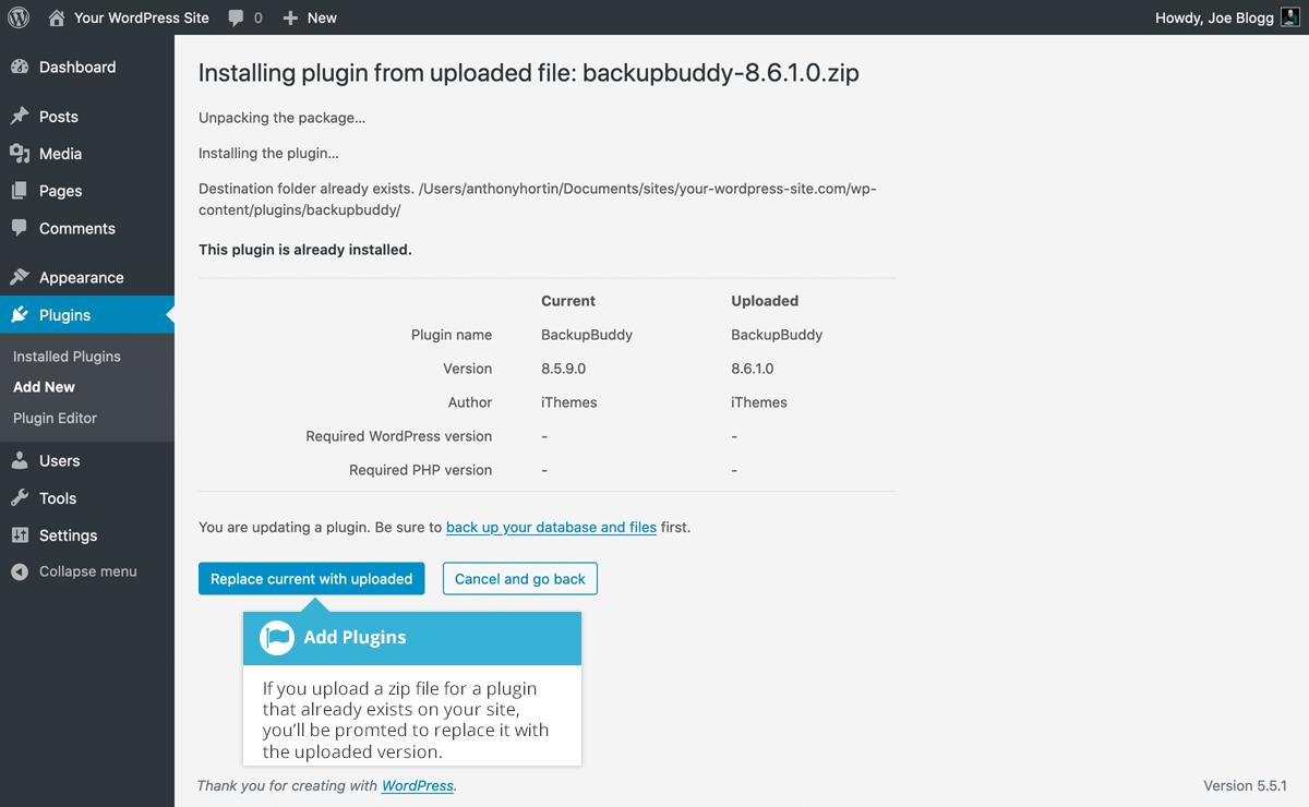 Upload existing plugin